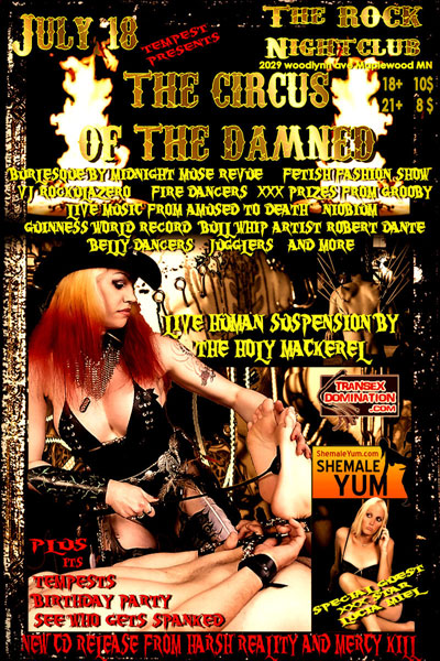 tCircusOfTheDamnedTempest Grooby Productions Sponsors Circus of the Damned Fetish Ball!